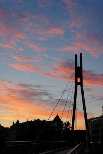 Molenbrücke in Dresden-Pieschen im Abendrot