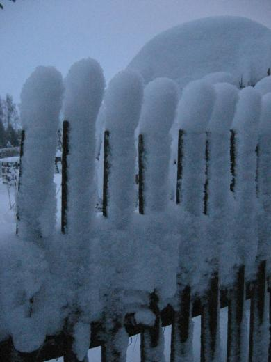 Zaun mit Schneekappen