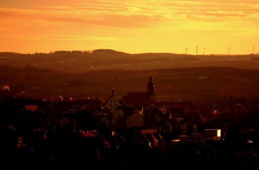 Sonnenuntergang über Dippoldiswalde